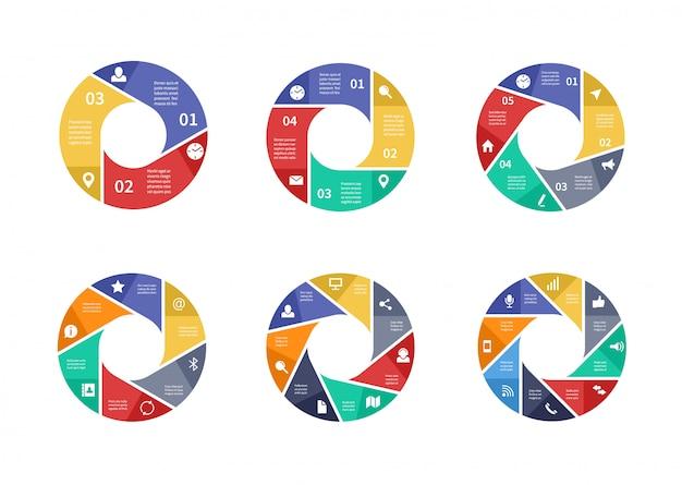 Infographie de technologie circulaire avec options sur les flèches. tableaux d'information sur le travail d'équipe.