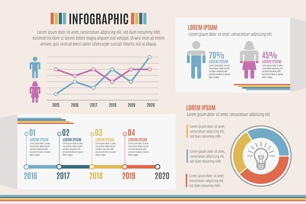 Infographie avec thème de couleurs rétro