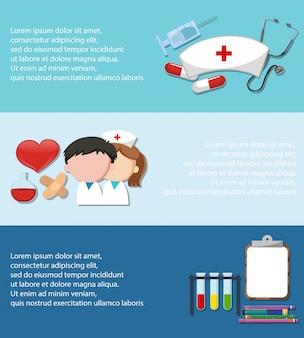 Infographie avec thème médical sur fond bleu