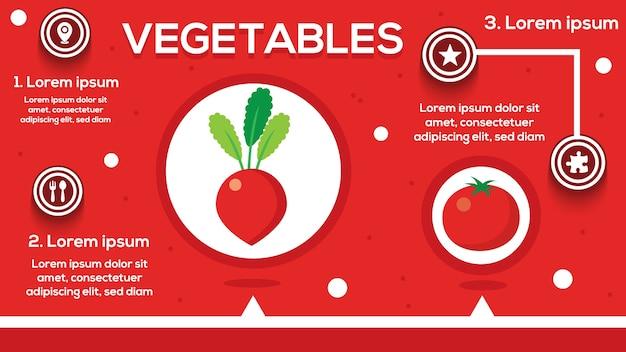 Infographie de tomate avec étapes, options, statistiques