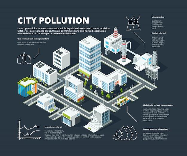 Infographie urbaine. concept d'entreprise personnes population mégapole transports bâtiments rue isométrique ville carte vecteur infographique