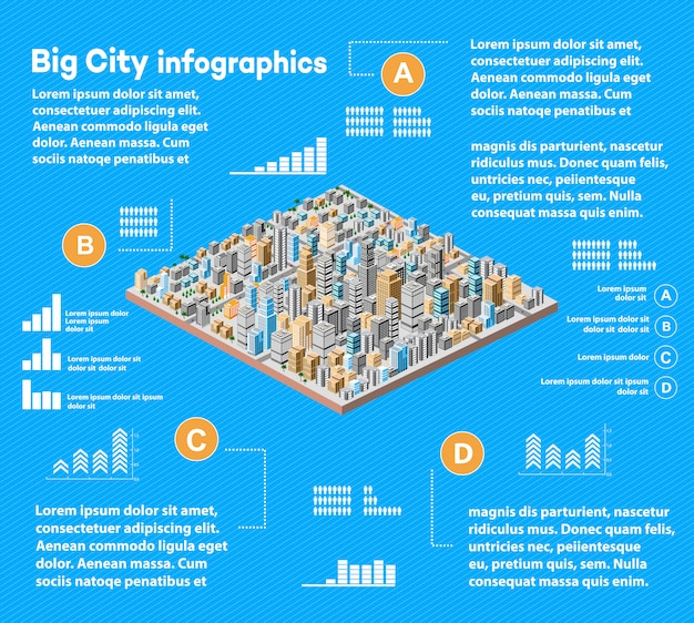 Infographie urbaine avec ville isométrique
