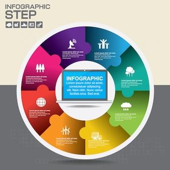 Infographie de vecteur de cercle. modèle de diagramme, graphique, présentation et graphique. concept d'entreprise, pièces, étapes ou processus. fond abstrait.