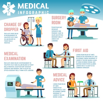 Infographie de vecteur de soins de santé avec les infirmières du personnel médical, les médecins et les patients hospitalisés. patient et clinique, illustration d'infographie médecin soins de santé