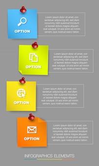 Infographie verticale de pense-bête coloré, avec quatre options et place pour le texte
