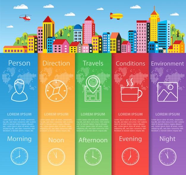 Infographie de la ville dans les informations commerciales de style plat