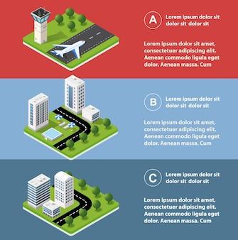 Infographie de la ville en isométrique avec des gratte-ciel, des rues et des arbres.