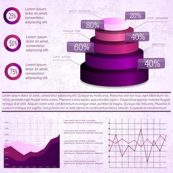 Infographie vintage sertie de diagrammes et de graphiques commerciaux
