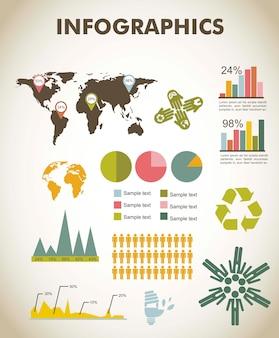 Infographie vintage sertie d'illustration vectorielle carte