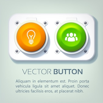 Infographie web abstraite avec panneau métallique boutons ronds colorés et icônes d'affaires isolés