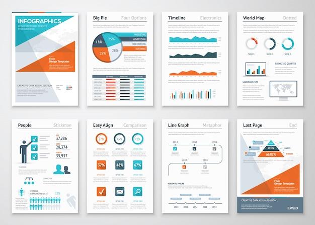 Infographies d'affaires éléments vectoriels pour les brochures d'entreprise