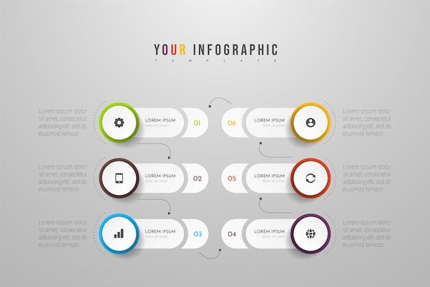 Les infographies peuvent être utilisées pour la mise en page du flux de travail, le diagramme, le rapport annuel, la conception web. concept d'entreprise avec options, étapes ou processus.