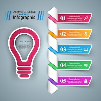 Infographique. ampoule, icône de la lumière.