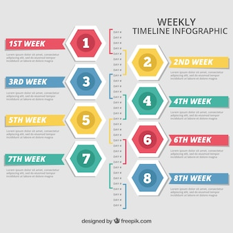 Infographique chronologique hebdomadaire avec des couleurs différentes