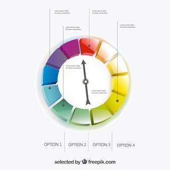 Infographique de jauge colorful