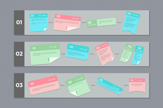 Infogrpahics de cartes post-it linéaires