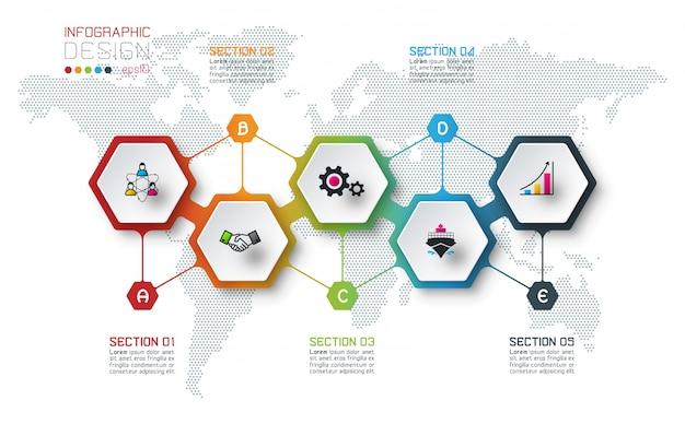 Inforgraphics d'hexagone sur l'art graphique vectoriel.