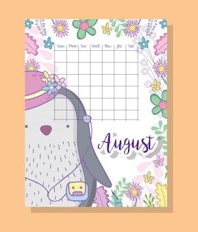 Information de calendrier d'août avec un pingouin et des plantes