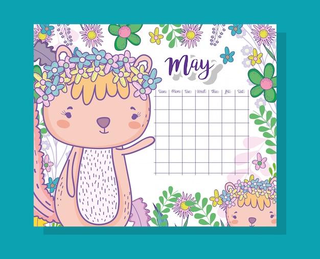 Information de calendrier de mai avec un écureuil et des plantes
