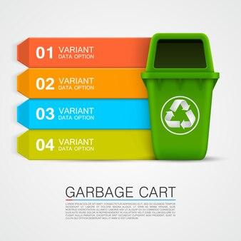 Information graphique art poubelle écologique. illustration vectorielle
