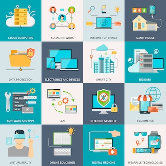 Information technologies concept flat icons