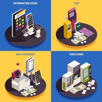 Informations de caisse automatique atm et kiosque alimentaire avec interfaces interactives illustration isolée isométrique