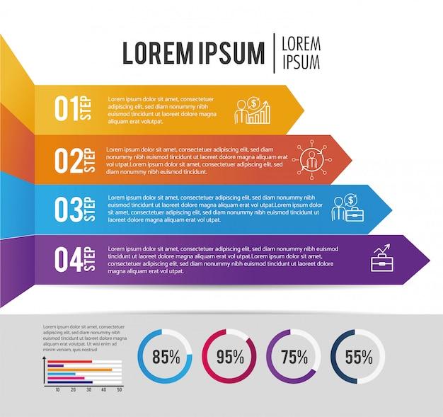 Informations commerciales infographiques avec lorem ipsum