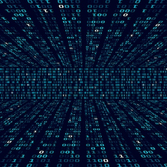 Informations de cryptage. code binaire sur fond bleu. nombres binaires aléatoires. concept abstrait d'algorithme de données volumineuses. illustration
