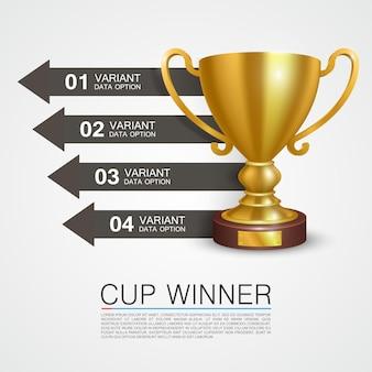 Informations graphiques vainqueur coupe art. illustration vectorielle