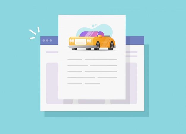 Informations texte de voiture et document d'instructions en ligne