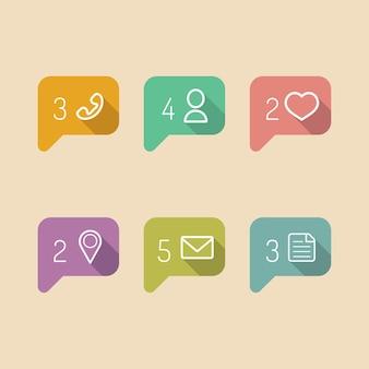 Informations vectorielles et icônes de notification dans un style plat.