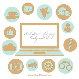 Informatique et blog icons dessiné à la main