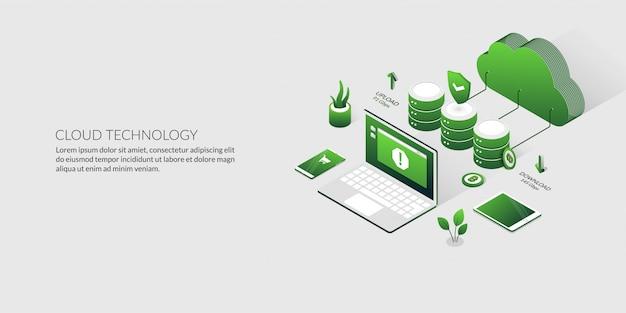 Informatique en nuage 3d et stockage de données, technologie de serveur d'hébergement isométrique