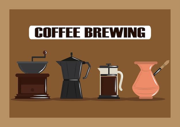 Infusion de café, moulin à café presse française cezve et illustration vectorielle de pot moka