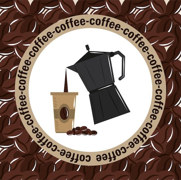 Infusion de café, pot de moka, verser la boisson sur l'illustration vectorielle de tasse jetable