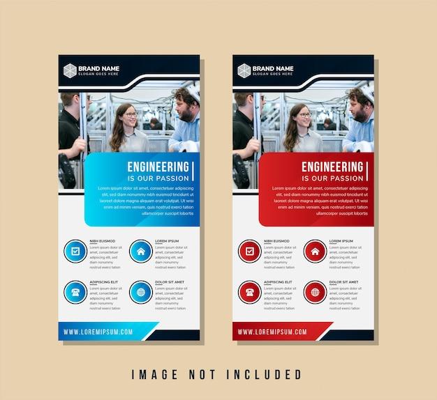 L'ingénierie est un modèle de bannière de passion pour les entreprises de construction. le style de couleur diagonale utilise des couleurs dégradées bleues et rouges pour la conception des éléments. disposition verticale avec espace pour le collage de photos.