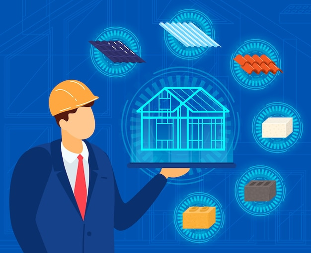 Ingénieur architecte avec illustration de projet de maison.