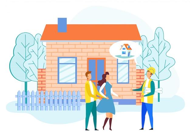 Ingénieur décrivant le projet d'une nouvelle maison à un couple