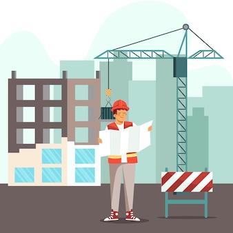 Ingénieur design plat organique travaillant sur la construction