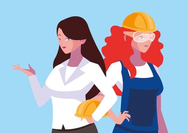 Ingénieur dessin animé femme avatar