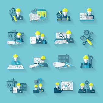 Ingénieur en engins de chantier technicien industriel avec outils de fixation et engrenages icônes définies illustration vectorielle