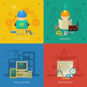 Ingénieur flat icons composition square