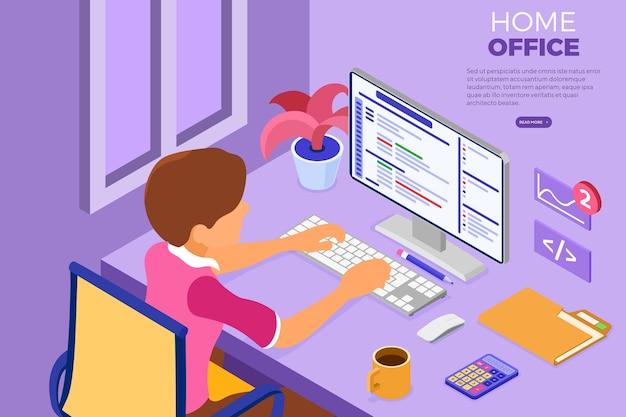 Ingénieur Logiciel Développant Des Programmes Dans Le Home Office Vecteur Premium