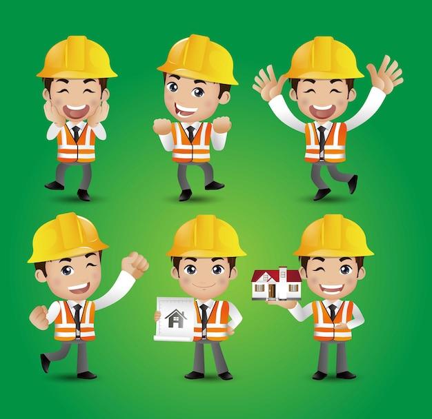Ingénieur ouvrier constructeur de profession avec différentes poses