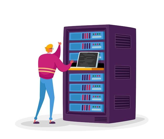 Ingénieur personnage masculin travaille sur ordinateur portable dans la salle des serveurs