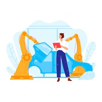 Ingénieur principal, personnage de l'industrie automobile, usine, véhicule de conception professionnelle de mécanicien féminin isolé sur blanc, illustration de dessin animé.