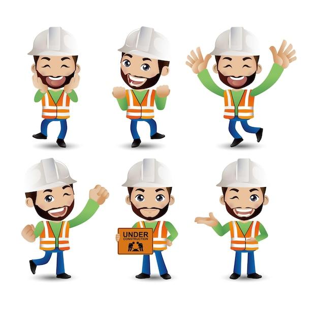 Ingénieur de travailleur de constructeur de profession avec différentes poses