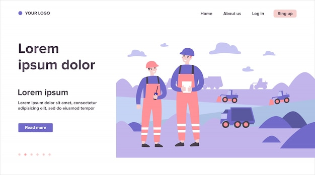 Ingénieurs de mines de charbon portant des uniformes de protection