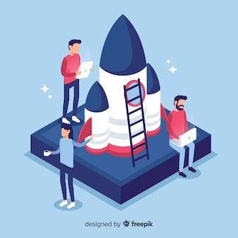 Ingénieurs plats construisant une fusée