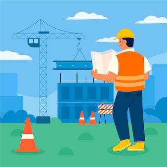 Ingénieurs plats organiques travaillant sur la construction